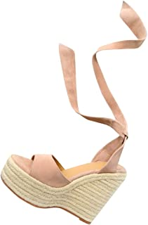 Womens Lace Up Espadrille Platform Wedge Sandals Ankle Strap Mid Heel Slingback Summer Shoes