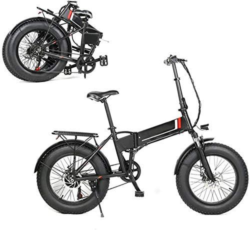 RDJM Bici electrica Bicicleta plegable eléctrico de 48V 8Ah de energía eléctrica de bicicletas, bicicletas de luz LED, Marco 500W Motor 20X4.0 pulgadas Fat Tire Montañas Playa Nieve eléctrica E-bici d