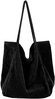 Ulisty Damen Groß Cord Tragetasche Retro Schultertasche Beiläufig Einkaufstasche Mode Handtasche schwarz