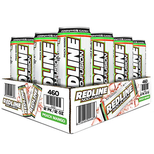 VPX Redline NOO-Fusion - Carbonated Preworkout & Cognitive Enhancing - Sports Nutrition Energy Drink with Caffeine, NOO-Fuel, Super Creatine, Amino Acids - 12 x 12 Fl Oz Cans (Peach Mango)