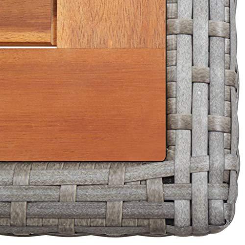 vidaXL Bistroset mit Auflagen 3-TLG. Balkonset Balkonmöbel Garnitur Sitzgruppe Sitzgarnitur Gartenmöbel Tisch 2 Stühle Poly Rattan Grau - 6