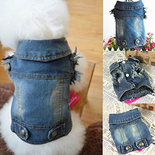 Catkoo Hundekleidung, Hundezubehör, Hundespielzeug, Hundekleid, Hundekleid, Cowboy-Jeansweste, Mantel, Jacke, Outfits, Haustierbedarf, Blau M