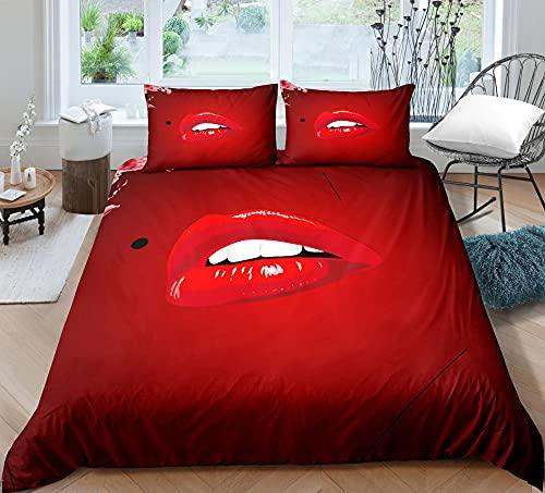 Labios Rojos Sexy Juego De Ropa De Cama 135X200 cm 3 Piezas De Juegos 3D Impresión Juego De Funda Nórdica De Microfibra para Cama 90, 1 Funda De Edredón Y 2 Fundas De Almohada 50X75Cm