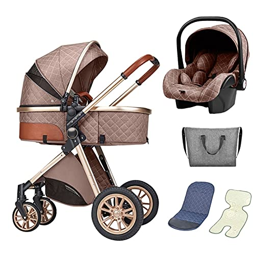 Cochecito De Bebé 3 En 1 Sistema De Viaje De Cochecito De Bebé Plegable, Capacidad De Gran Capacidad, Canasta De Torage, Suspensión De Ruedas, Cochecito De Carruaje Para Bebés Móvil ( Color : Brown )