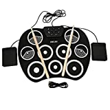 WMNRNYD Roll Up Electronic Drum Pads, Roll-Up Digital Touch Sensitive Drum Practice Kit Roll Up Drum Principiante Instrumento de percusión para niños USB Hand Roll Electronic Drum,Negro