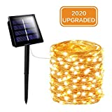 SANJICHA Solar String Lights Outdoor, Upgraded Super Bright 200 LED Solar Lights Outdoor, Waterproof Copper Wire 8 Modes Fairy Lights for Party Decorations Wedding Garden Patio Home Decor (Warm White)