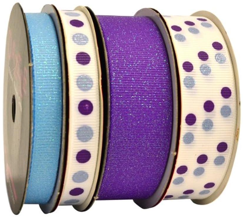 Morex Ribbon Dazzle Glittered Grosgrain 4-Pack Ribbon, 23-Yard, Grape