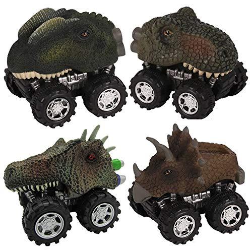 4 piezas de coches de dinosaurio extraíbles, divertidos trajes de coche de dinosaurio retráctiles, coches de juguete de dinosaurios de fricción, adecuados para regalos para niños
