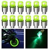 HSIQIAN Luce Valvola Ruota con Luce LED Lampeggiante per Auto Bicicletta Motocicletta (Verde, 12PCS)
