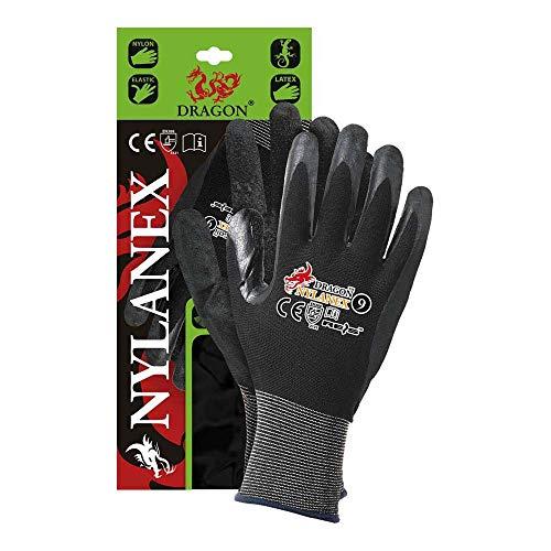 Rijst NYLANEX11 Dragon beschermende handschoenen, zwart-zwart, 11 afmetingen, 12 stuks