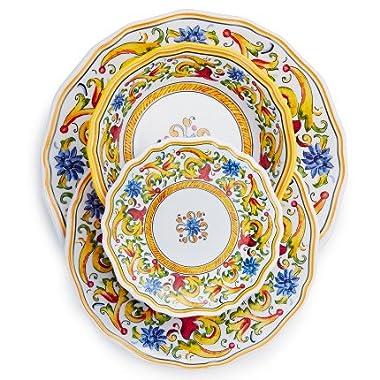 Sur La Table Floreale 12-Piece Melamine Dinnerware Set with 4 Bonus Appetizer Plates