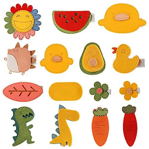 XYDZ 15 Pinzas Para El Cabello Artesanales de Fieltro Hechas a Mano, Pinzas Para El Cabello Para Bebés y Niños, Pinzas Para El Cabello Con Patrón De Flores de Animales de Dibujos Animados Lindo
