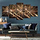 mmkow Lienzo 5 Piezas Set fotografía Fuegos Artificiales Sala de Estar Obra de Arte 100x200cm (Marco)