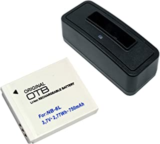 Estación de batería y batería (750mAh) para Canon PowerShot SX530 HS;Batería substituye: Canon NB-6L NB-6LH