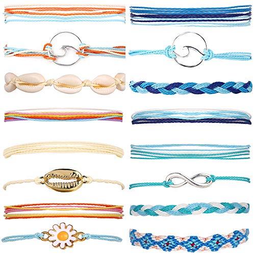FAXHION 16 Pieces Braided Rope Bracelet Waterproof String Ocean Surfer Shell Bracelet Handmade Adjustable Friendship Bracelet Jewelry for Women Girl (B)