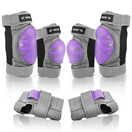 Vancok Kids Adult Knee Pads Elbow Pads Wrist Guards, 6 in 1 Protective Gear Set Safety Pads for Skateboarding Inline Roller Skating Cycling Biking BMX Bicycle Scooter Riding Sports [Version 5.0]