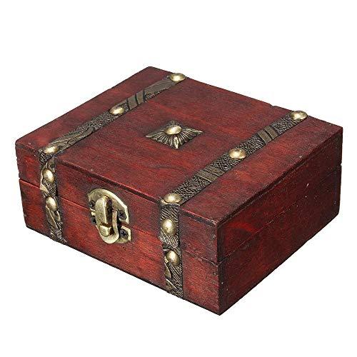 TWFY Joyería Organizador Caja Vintage Madera Resistente Caja de Joyas Collar de la joyería Caja de la Caja del hogar Caja Caso de Almacenamiento Cajones para Niñas (Color : Red, Size : One Size)