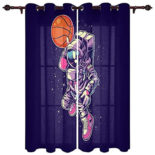 QGWMCD Cortinas Opacas de Salon Termicas,Baloncesto De Astronauta Marrón Púrpura para Ventana Dormitorio Moderno Infantiles Decorativos 85x200cm x2