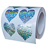 Well Tile Glitter Heart Shape Stickers Sparkly - 1.1' 500 Labels Per Roll - Valentine's Day Love Decorative Sticker for Scrapbooking Party Favors Teacher Supplies
