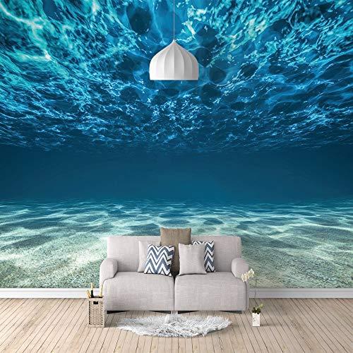 Benutzerdefinierte 3D Wandbild Tapete selbstklebende Leinwand Unterwasser Muster für Schlafzimmer Wohnzimmer Tv Hintergrund Wanddekoration Wandbilder,350cm(W) x256cm(H)-7 Streifen