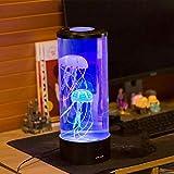 Lámpara de mesa de noche para acuario con luz LED de medusa artificial, ideal como regalo para decoración de la habitación del hogar con 6 colores cambiantes, tamaño pequeño