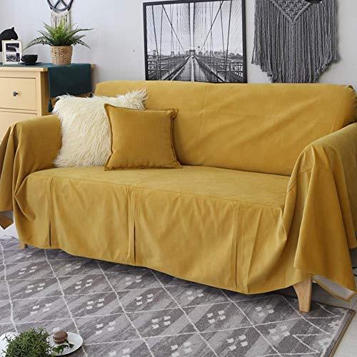 H-CAR Funda de sofá de Color sólido, Four Seasons Universal 1 Pieza Protector de Muebles Antideslizante Protector de sofá Suave para 1 2 3 Cojín de sofá Sillón-g 190x400cm (75x157inch)