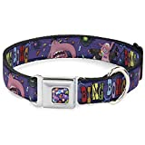 Dog Collar Seatbelt Buckle Bing Bong Poses Candy Purples Multi Color 15 to 26 Inches 1.0 Inch Wide
