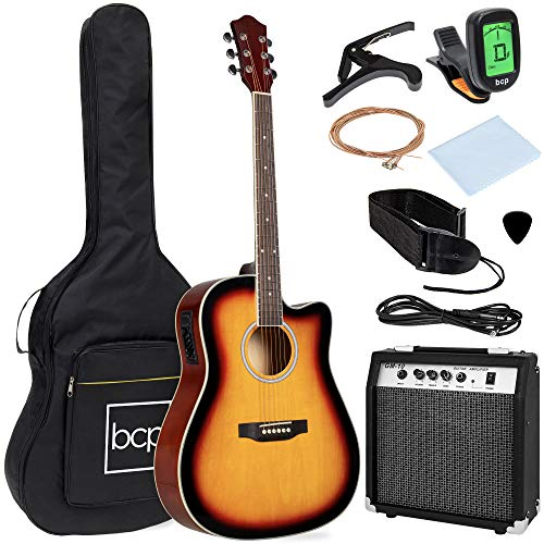 Best Choice Products Beginner Acoustic Electric Guitar Starter Set w/ 41in, All Wood Cutaway Design, Case, Strap, Picks, Tuner - Sunburst