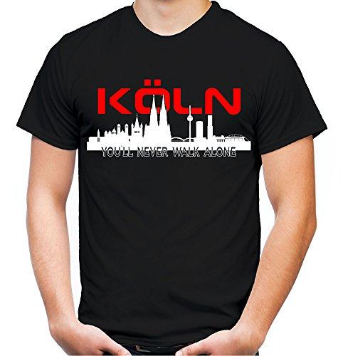 Köln Skyline Männer und Herren T-Shirt | Fussball Ultras Cologne Geschenk (XXXL, Schwarz)