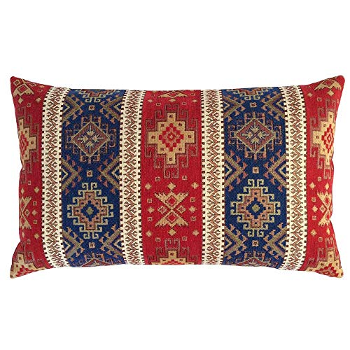 pillowerus Tapestry Gobelin Red-Blue 12'x20' Throw Decorative Lumbar Pillow Cover Sham Slipcover Ethnic Kilim Southwestern Pattern for Home Decor, Sofa, Couch, Porch, Patio, Chair