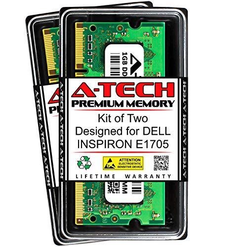 A-Tech 2GB (2 x 1GB) RAM for DELL INSPIRON E1705 | DDR2 667MHz SODIMM PC2-5300 200-Pin Non-ECC Memory Upgrade Kit