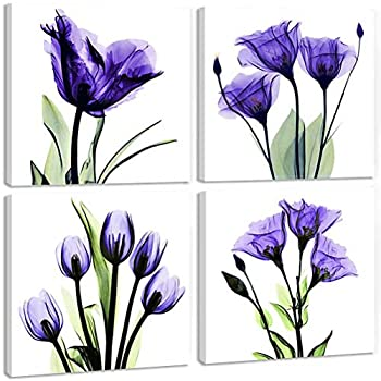 TONZOM - Canvas Wall Art 4 Panel Elegant Tulip Flower Print Wall Art Painting Artwork Modern Pictures Framed Ready to Hang for Office Decor  Purple Flower Prints Framed  12x12inch