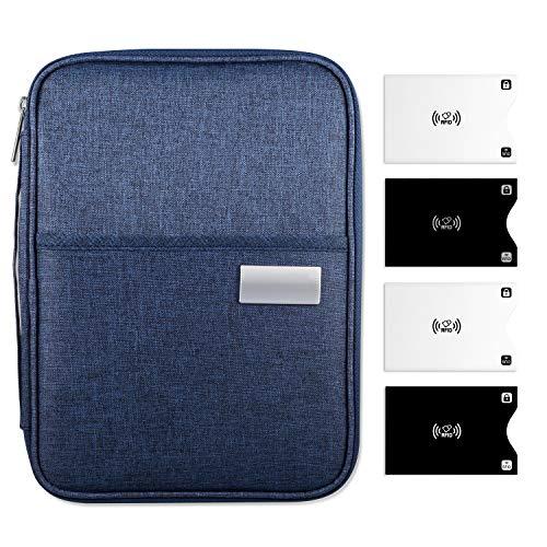 Yosemy Reisepass Tasche, Reisebrieftasche Familie Passport Hülle RFID Passfächer Kartenfächer Flügeltasche Reißverschlusstasche, Kreditkarte Bargeld Flugticket Telefon, für Herren Damen Travel Wallet