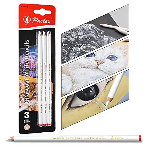 Pasler Lot de 3 crayons fusains blancs à dessin