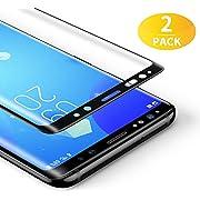 BANNIO Verre Trempé Complet pour Samsung Galaxy S8 Plus,[2 Pièces] HD Film Protection Écran en Couverture Intégrale pour Samsung Galaxy S8 Plus,Anti Rayures,Installation Facile,Noir