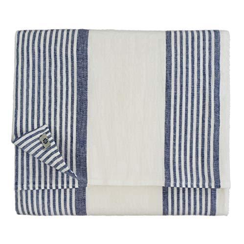 Linen & Cotton Nappe OLIVIER, 100% Lin Lavé - Blanc/Bleu (150 x 250cm)