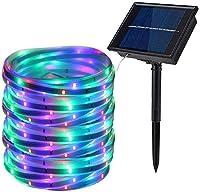 ソーラーLEDストリップライト、100 LEDソーラー防水SMD2835 16.4ft / 5M庭、パーティー、クリスマス装飾用の柔軟なロープライト (多色)
