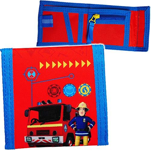alles-meine.de GmbH Geldbörse - Feuerwehrmann Sam & Feuerwehr - Portemonnaie / Geldbeutel - für Kinder - Geld - Portemonnaise Klettverschluss - Geldtasche Geld - Schule Kindergar..