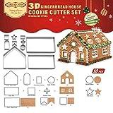 Kit 3D 10 P, Casa de Jengibre y Galletas Navideñas, Calidad Premium