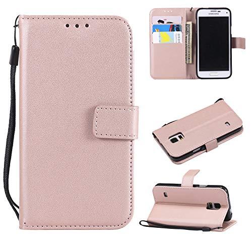 Snow Color Galaxy S5 Hülle, Premium Leder Tasche Flip Wallet Case [Standfunktion] [Kartenfächern] PU-Leder Schutzhülle Brieftasche Handyhülle für Samsung Galaxy S5/G900F - COMS020394 Rosa Gold