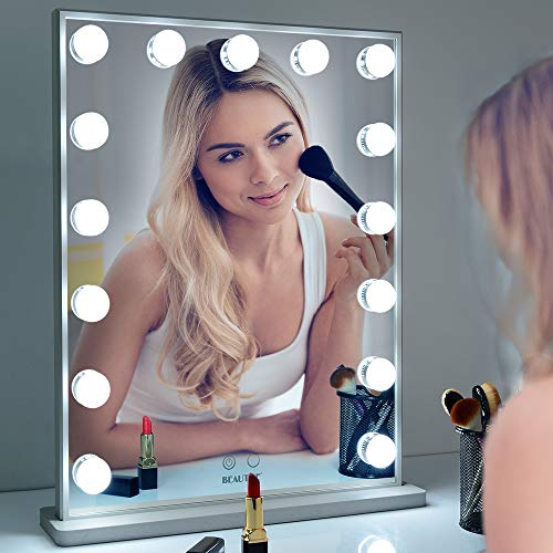 Espejo con luz para maquillaje,Hollywood Espejo de vanidad de, espejo con luces LED ajustables de 15 piezas, apósito montado en la mesa o en la pared Espejo de belleza cosmético iluminado(42*51.2cm)