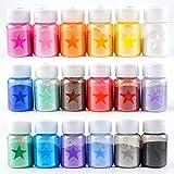 SHAOKAO 18 colores polvo de mica epoxi resina de color pigmento set de tinte de grado cosmético mica polvo para jabón de brillo de labios haciendo bomba de baño brillo de labios pigmento de color