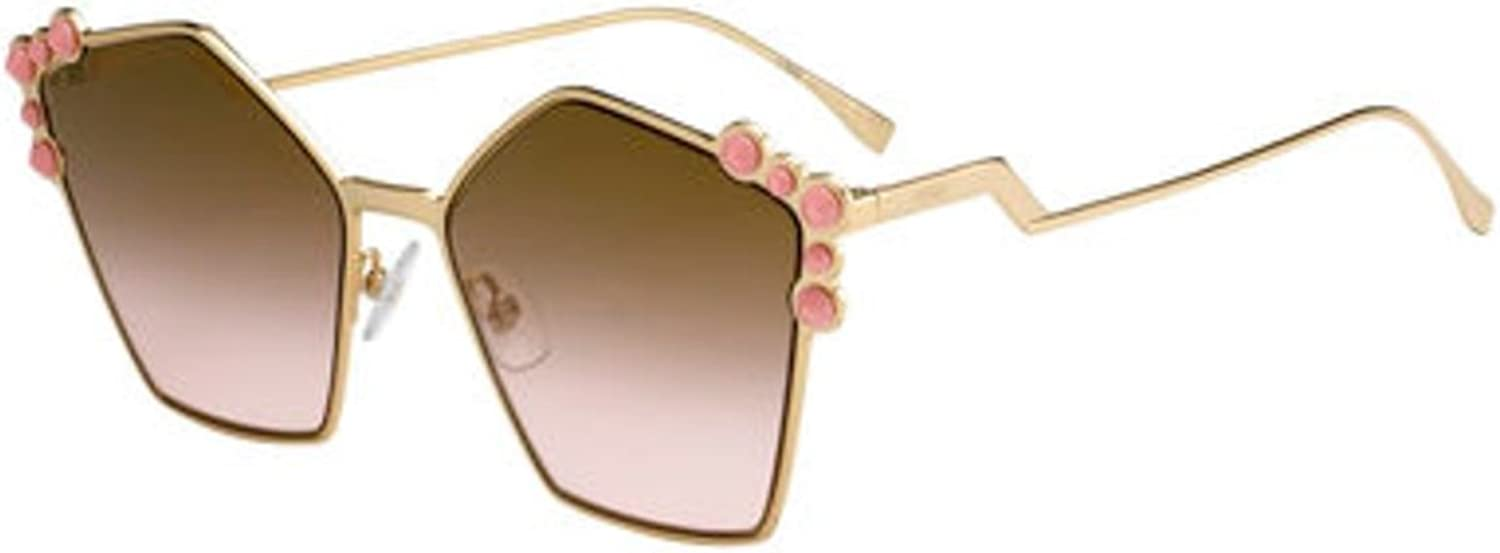 New Fendi Ff 0261 S 000 53 gold pink Brown Sunglasses