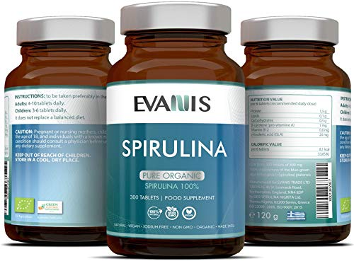 Spirulina Tablets by EVANIS 300-Capsule Pure Organic Spirulina Supplement – Natural and Vegan Friendly Formula – Non-GMO, Eco-Friendly – Energy Boost, Natural Antioxidants, Superfood