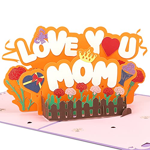 Kesote Grußkarte Mama Karte Pop Up Muttertagskarte 3D Glückwunschkarte LOVE YOU MOM Muttertag Dankeskarte Muttertagsgeschenk Geburtstag Mutter