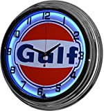 17' Blue Neon Wall Clock, Gulf Gas Oil Gasoline Station