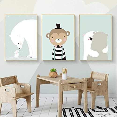 JRLDMD Precioso Animal de Dibujos Animados Dulce decoración del hogar Lienzo nórdico Pintura de Arte de Pared impresión Chico niño niña Dormitorio Sala de Estar Cartel 40x60cmx3 sin Marco