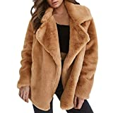 Sunward Women's Keep Warm Outerwear Loose Big Collar Fur Winter Coat (88833538118, Brown, S)
