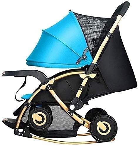 Cochecito de bebé, buggy, cochecito de bioco de dos vías portátil puede sentarse reclinable silla de balanceo de choque plegable reclinable Viaje de cochecito de bebé multifunción (Color : Blue)