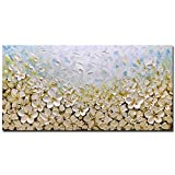 V-inspire Art, 24X48 Inch Modern Oil Painting White Flowers Frame Canvas Wall Art 100% Hand Drawn Interior Decoration, Ready to Hang